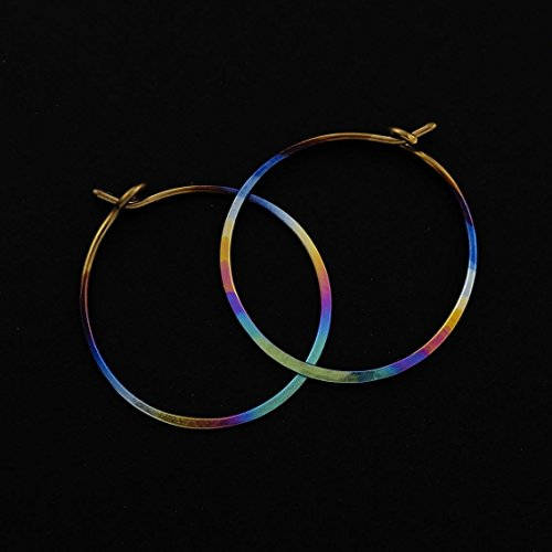 Textured Niobium Hoops - 18 gauge 25mm in 21 Color Choices