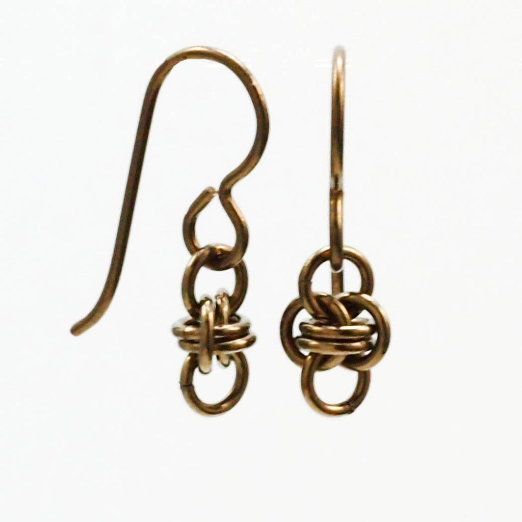Niobium Little Twists Earrings - Short Petite Chainmaille Style - Hypo Allergenic