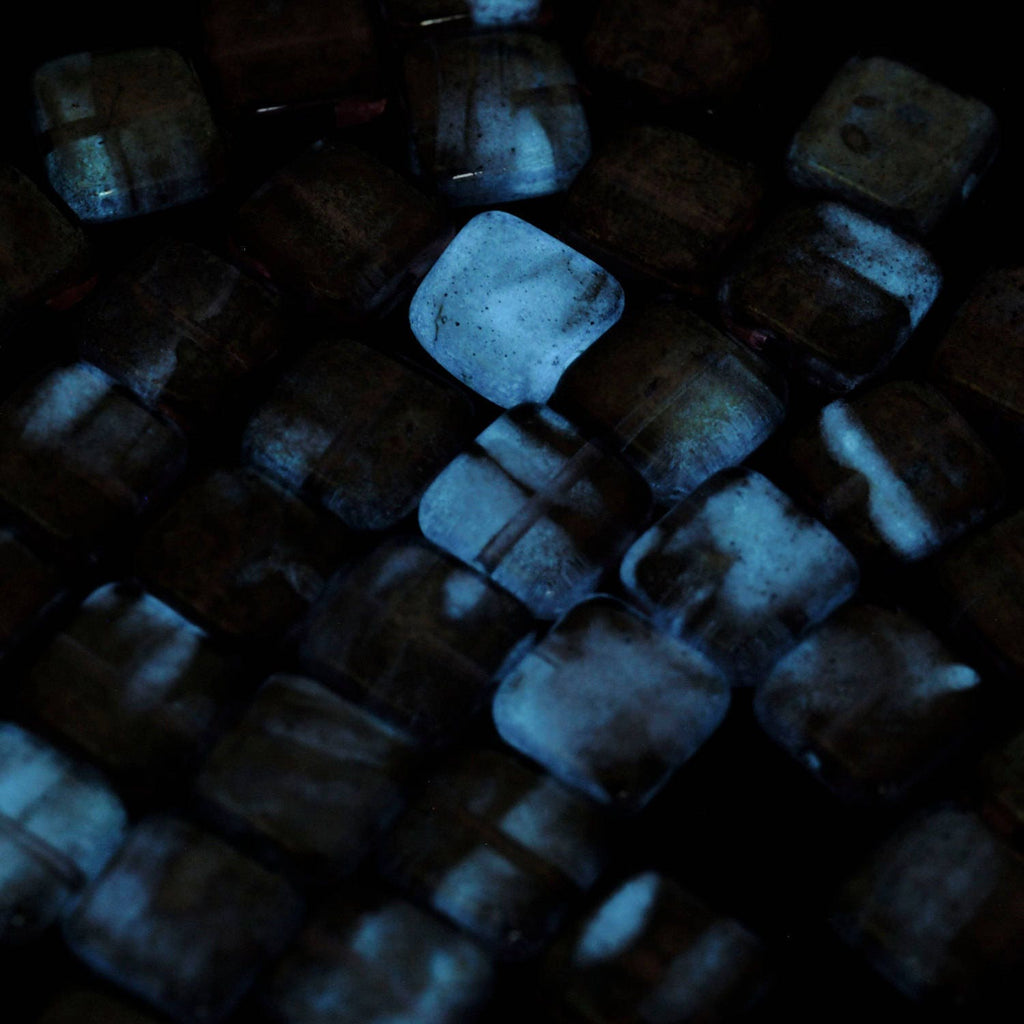 10 - 9mm Glow in the Dark Square Crystal Beads - Czech Pressed Glass - 100% Guarantee
