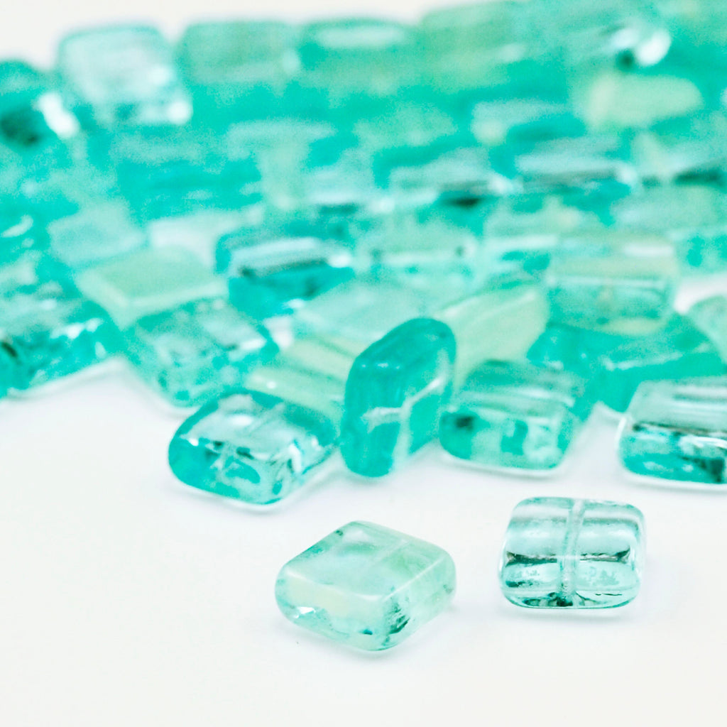 10 - 9mm Glow in the Dark Square Aquamarine Beads - Czech Pressed Glass - 100% Guarantee