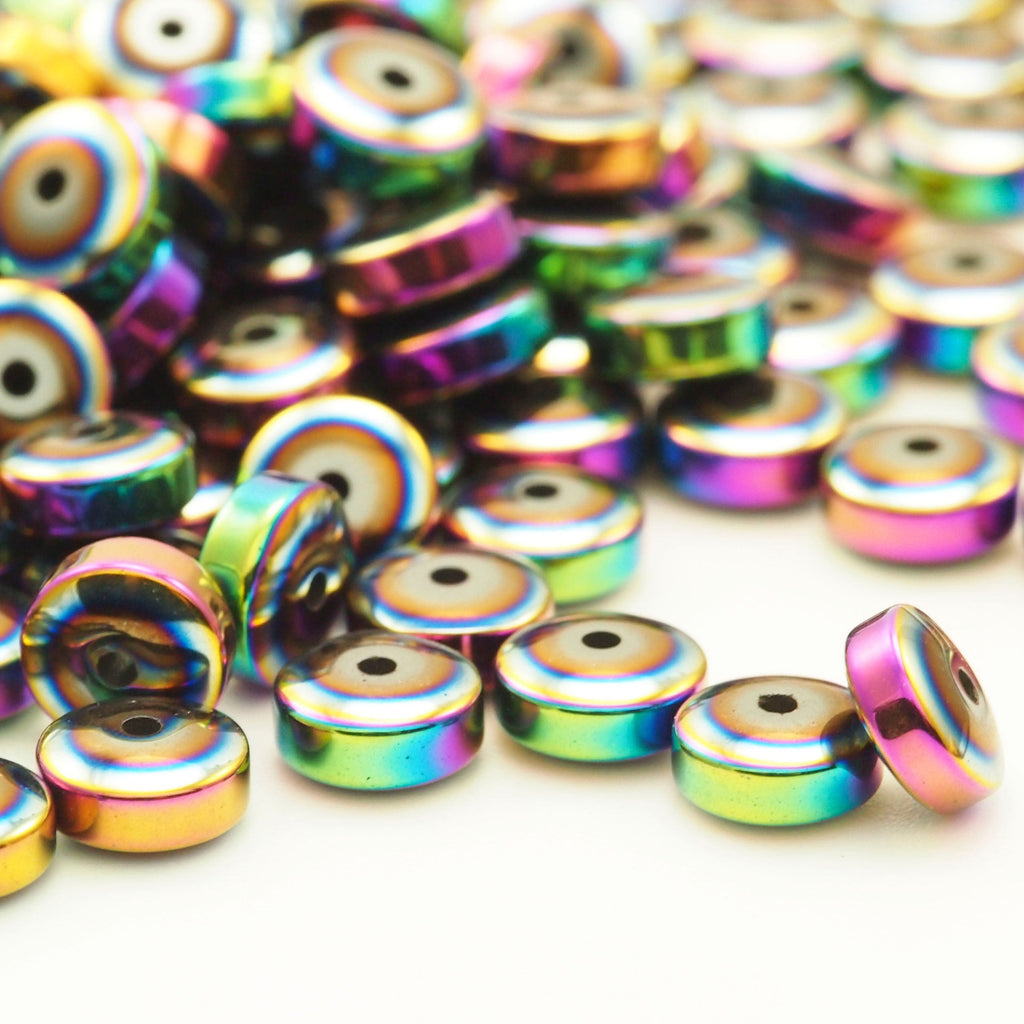 20 Rondelle Beads - Rainbow Plated Brass in 4 Sizes - 100% Guarantee