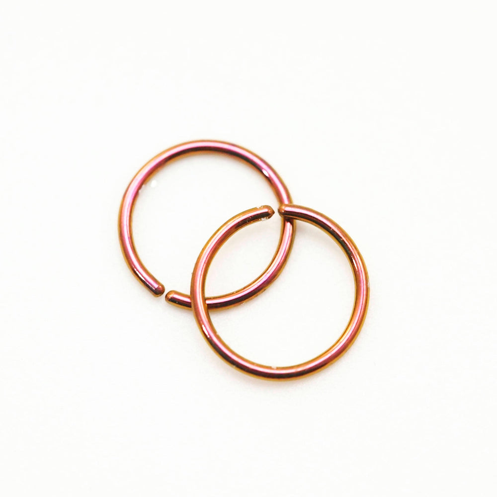 Super Simple Tiny Niobium Hypoallergenic Earring Hoop or Nose Ring - 20, 22, 24 gauge 7mm or 10mm OD - You Pick Color