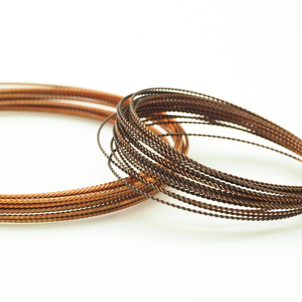 Oxidized Twisted Bronze Wire - Hand Finished - You Pick Gauge 10, 12, 14, 15, 16, 18, 20, 21, 22