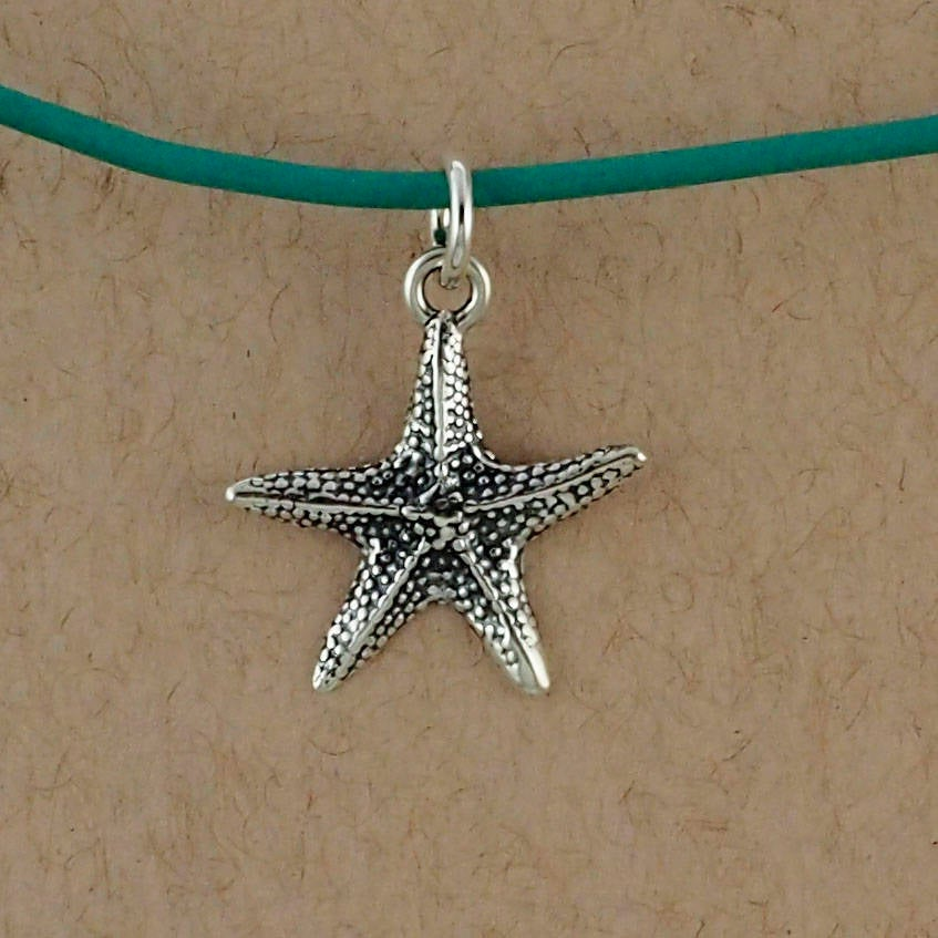 1 Sterling Silver Star Fish Charm - 17mm X 19mm - Jump Ring Included