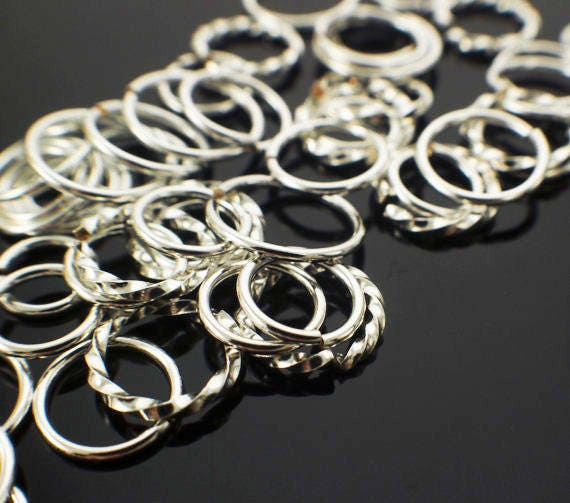 Deluxe Silver Filled Jump Ring Sample - 1/4 ounce Square, Fancy and Round Links - Shiny or Antique