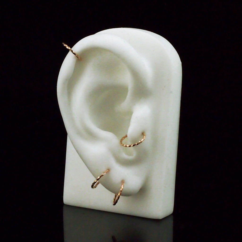 1 - Twisted Simple Hoop Earring - You Pick Gauge and Diameter - Argentium Sterling, 14kt Gold Fill, 14kt Rose Gold Fill