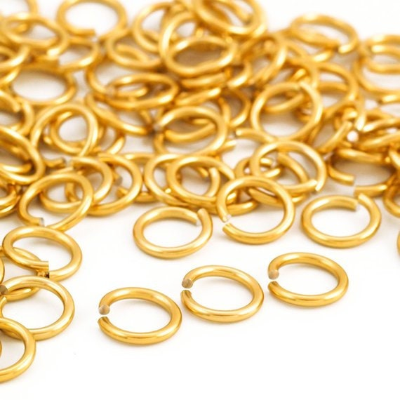 100 - 12 gauge Anodized Aluminum Jump Rings - 10mm ID - 14mm OD - 3/8""