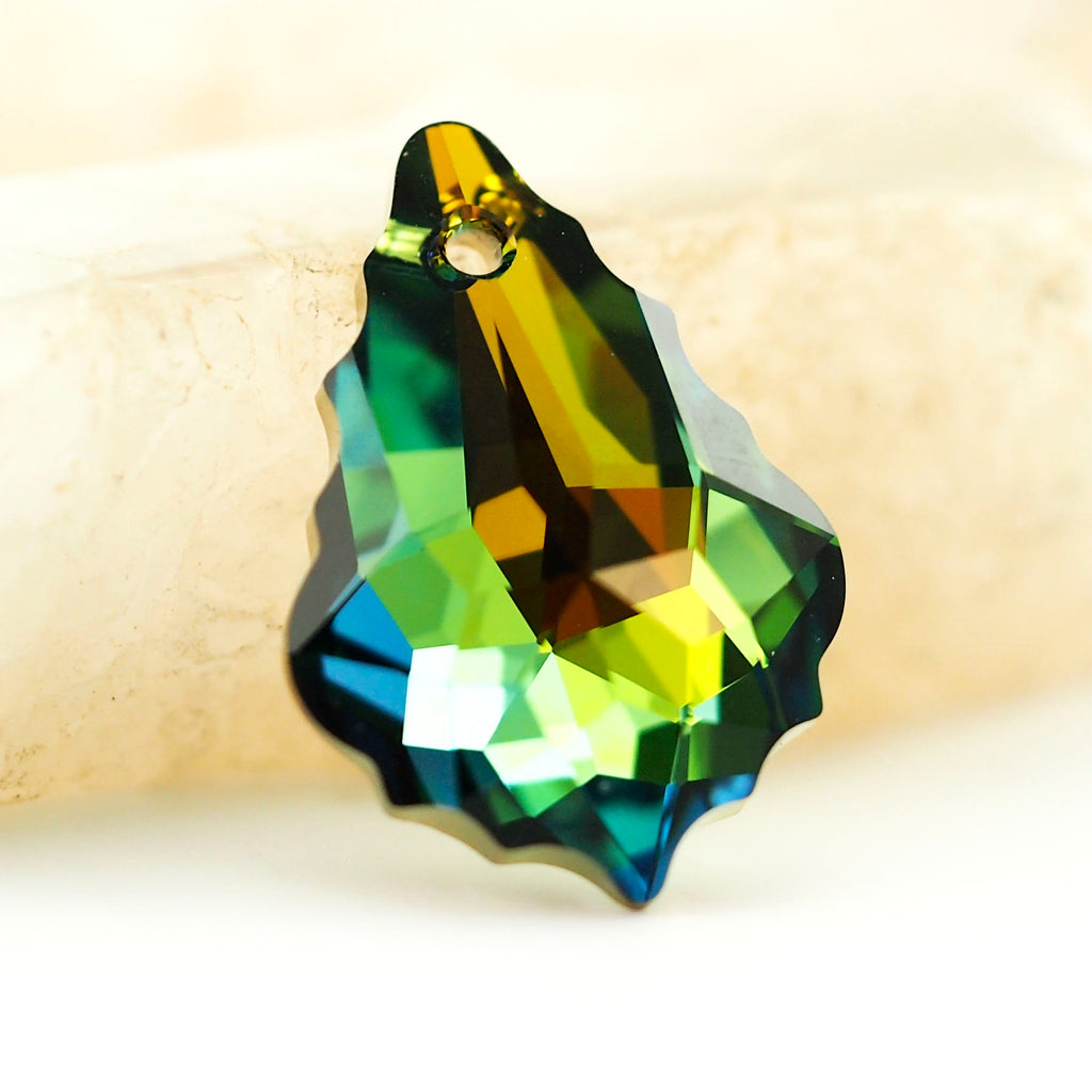 Baroque Swarovski Pendant 22mm X 15mm Faceted Focal in Stunning Colors