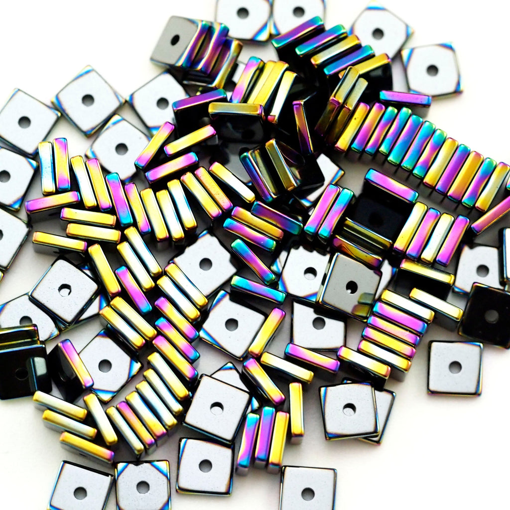 100 4mm X 1mm Square Rondelle Beads - Rainbow Plated Brass 100% Guarantee