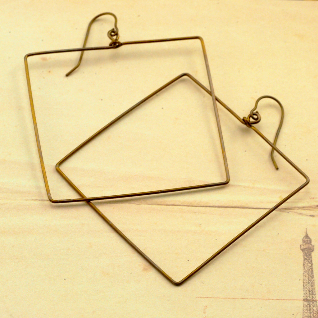 Large Hypoallergenic Square Dangles in Lightweight Titanium - Hooked on Hoops 55mm Earrings in 20 Colors