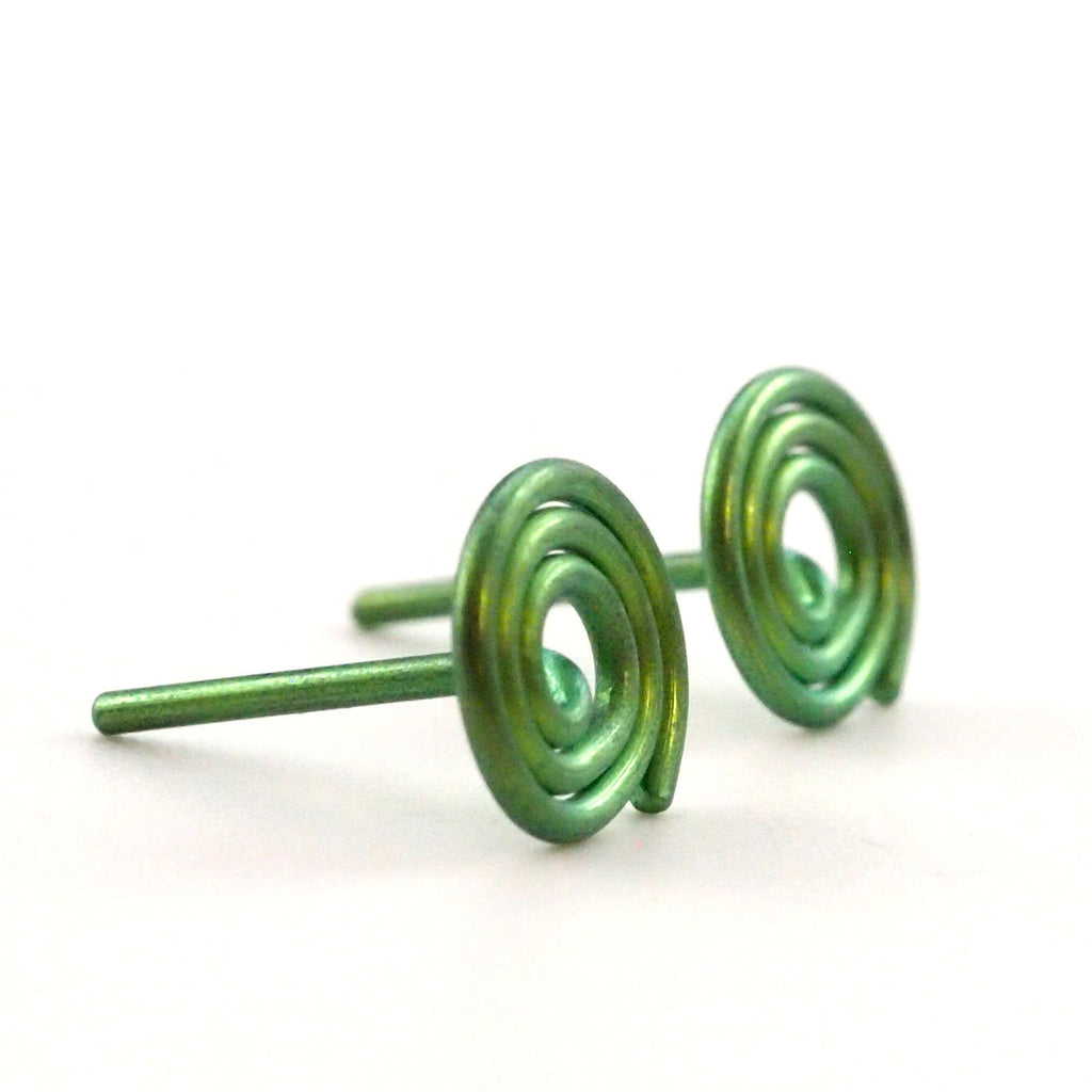 Niobium Hypoallergenic Coil Post Earrings - 20 gauge - 5mm, 7mm or 9mm