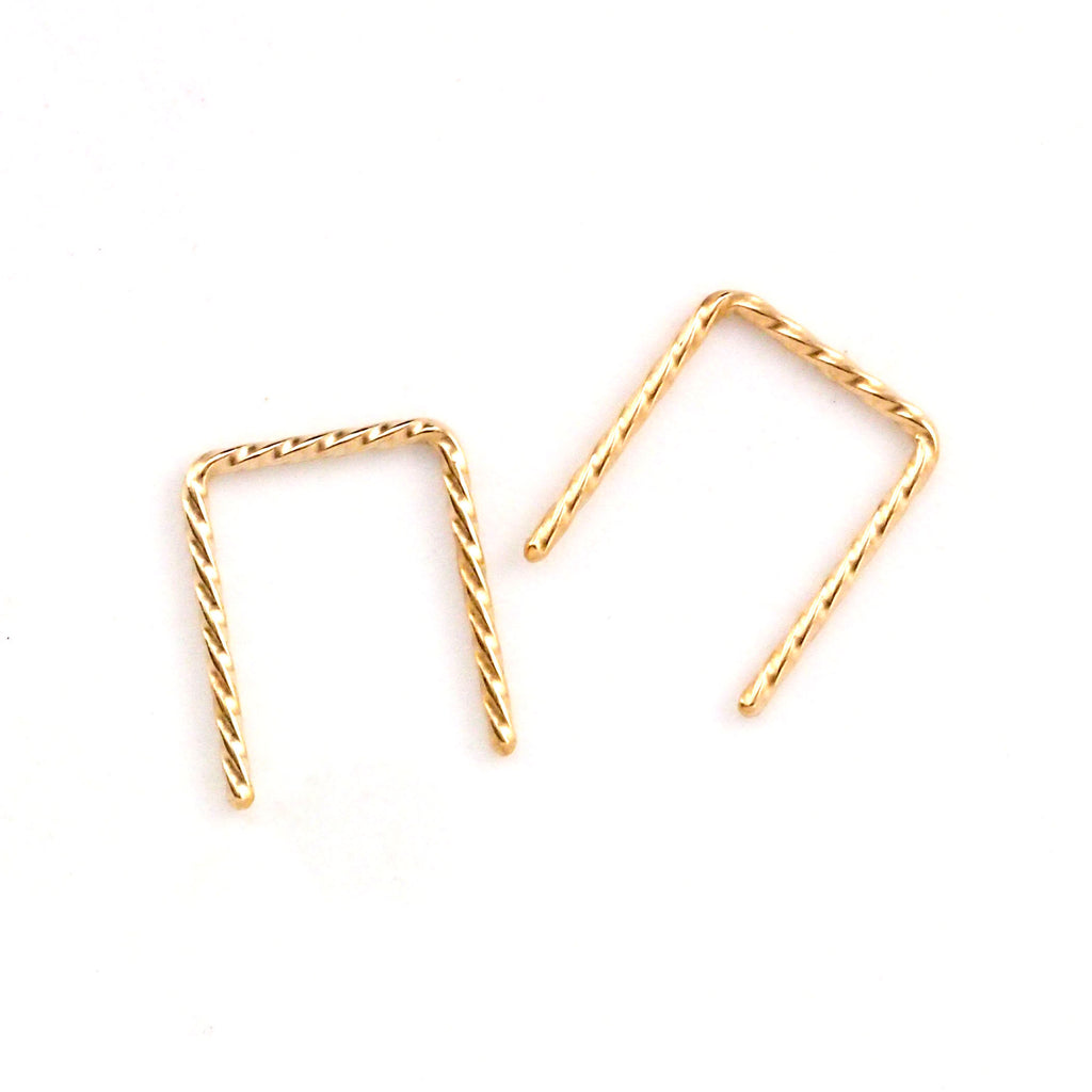 Fancy Staple Earring in Sterling Silver, 14kt Yellow Gold Filled, 14kt Rose Gold Filled, 14kt Solid Gold, Surgical Steel