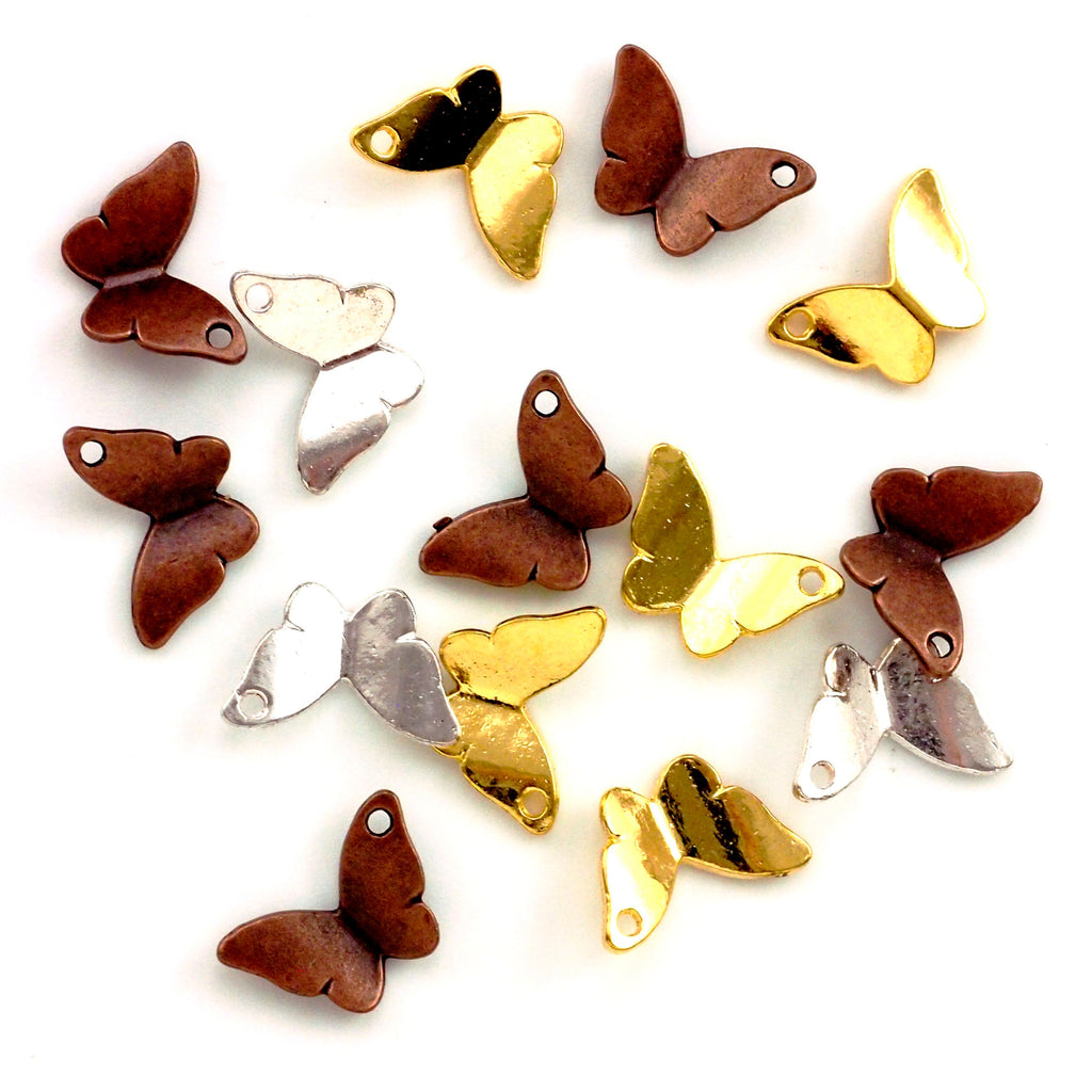 9 - Fly Away Butterfly Charms 12mm in Antique Copper, Gold and Silver Plated Pewter