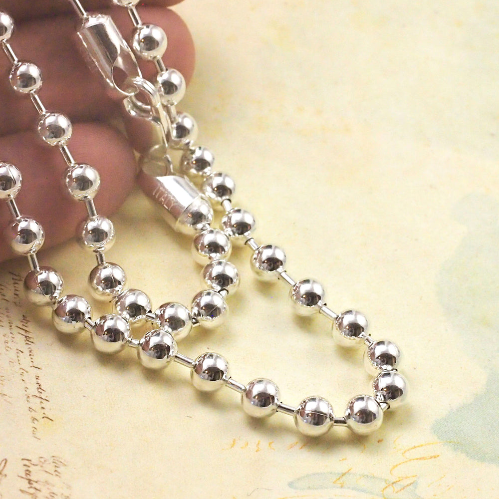 "18"" Sterling Silver Bead Chain - 5mm  -  in Bright, Black or Antique - Made in the USA"