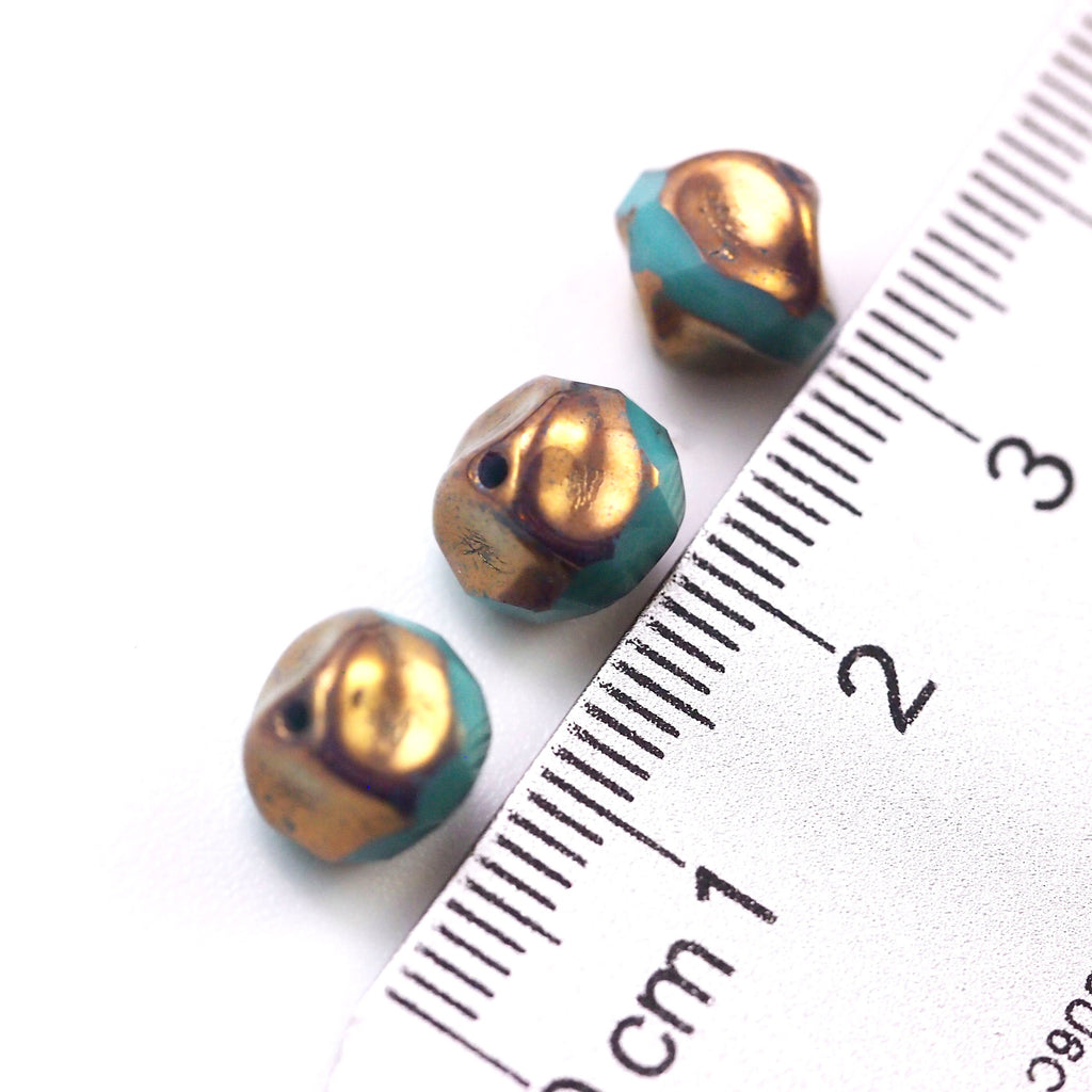10 - 9mm Baroque Round Turquoise Bronze Central Cut Through Beads - Czech Pressed Glass - 100% Guarantee