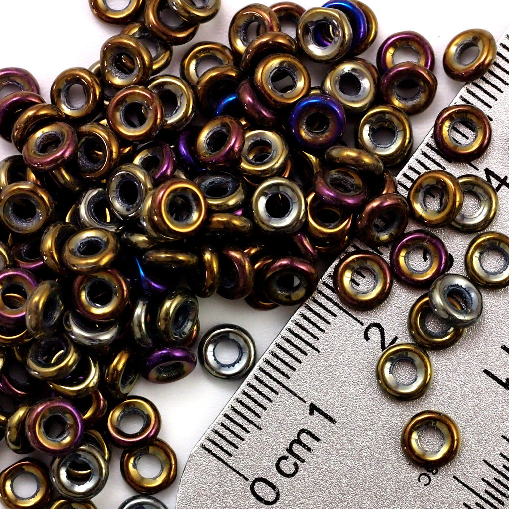 40 - 6mm X 2mm Brown Iris Donut Czech Glass Beads - 100% Guarantee