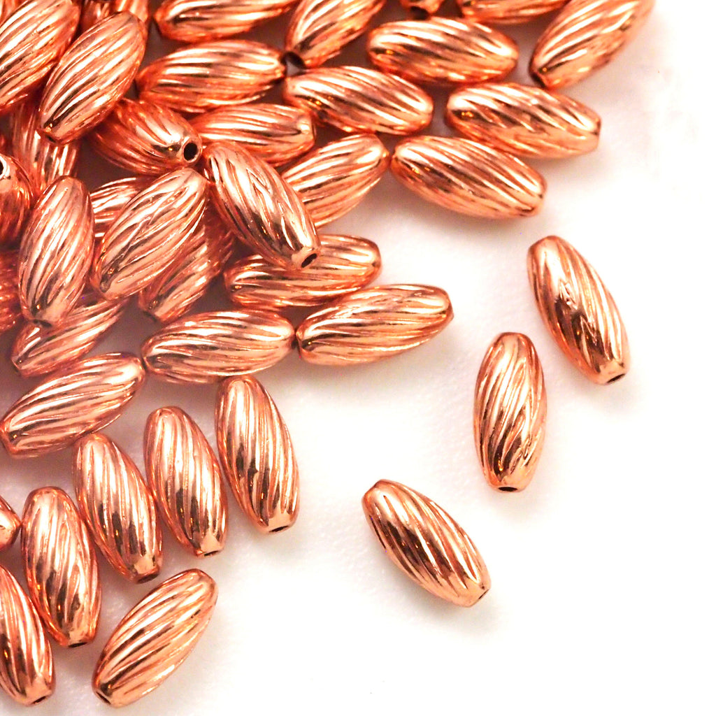 50 Twisted Corrugated Oval Copper Beads - Clear Coated to Prevent Tarnish - 100% Guarantee in 3 Sizes