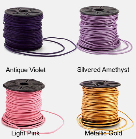 1.5mm Indian Leather Cord - By The Yard in 18 Colors