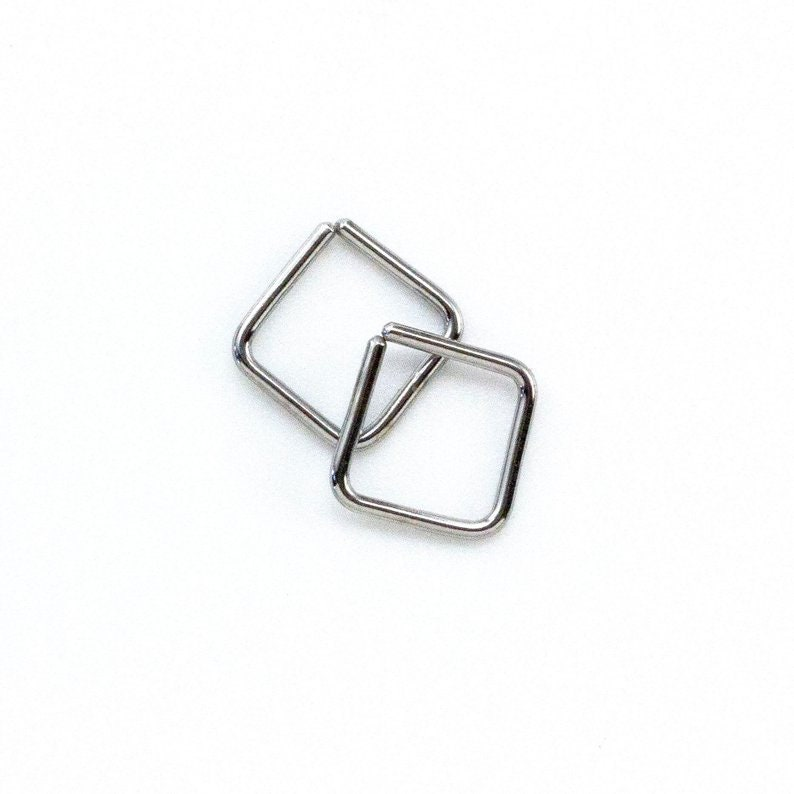 Simple Square Hoop - 14kt Gold Filled, 14kt Solid Gold, Sterling Silver, Niobium, Titanium - Five Sizes to Choose From