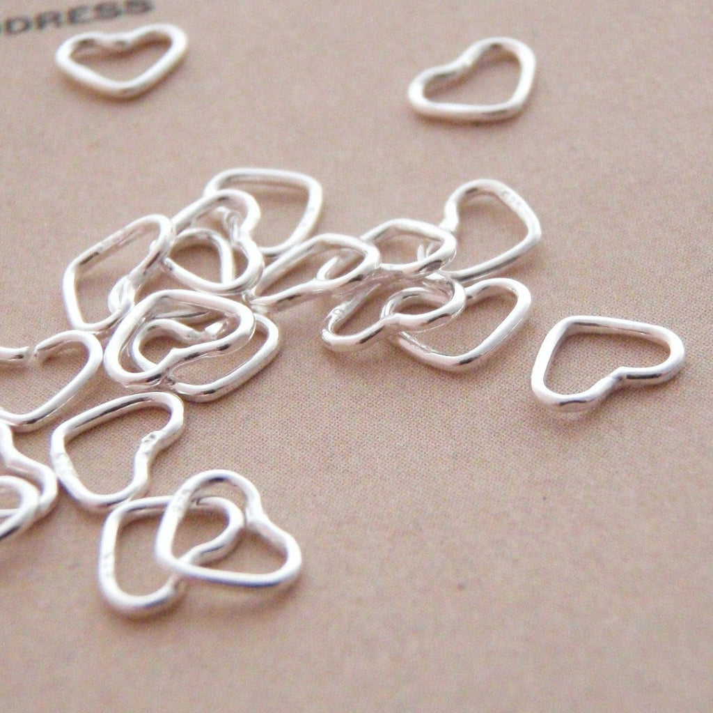 5 Sterling Silver Heart Jump Rings in 2 Sizes - Open or Soldered Closed - Shiny, Antique or Black Finish