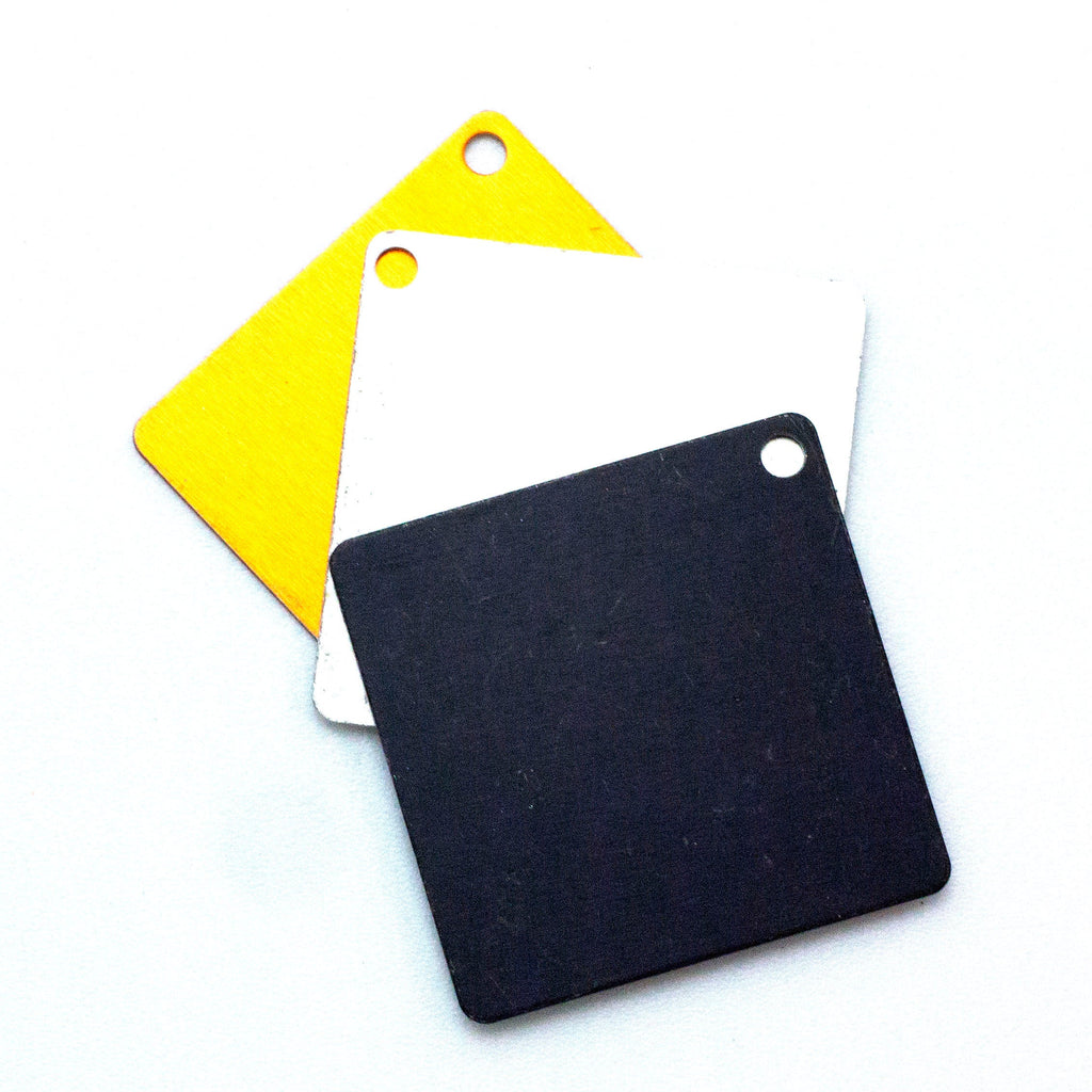 25 Economical Aluminum Scales - Square 37mm - Use as Discs, Blanks, Tags - Lightweight - 100% Guarantee