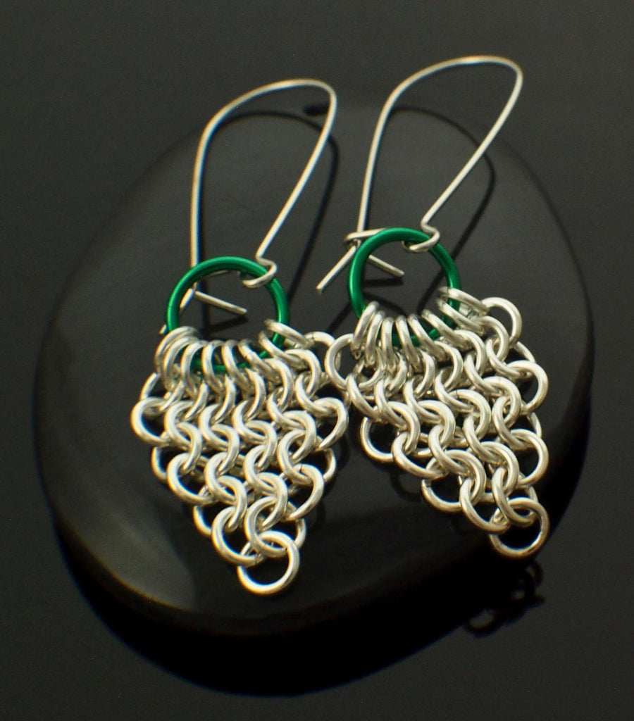 Chainmaille Earring Kit - European 4 in 1 Spear and Circle in Gold and an Accent Color