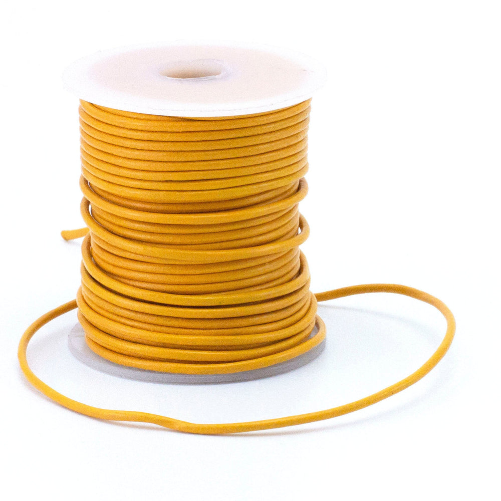 Bright Yellow Indian Leather Cord - By The Yard in 0.5mm, 1mm, 1.5mm or 2mm