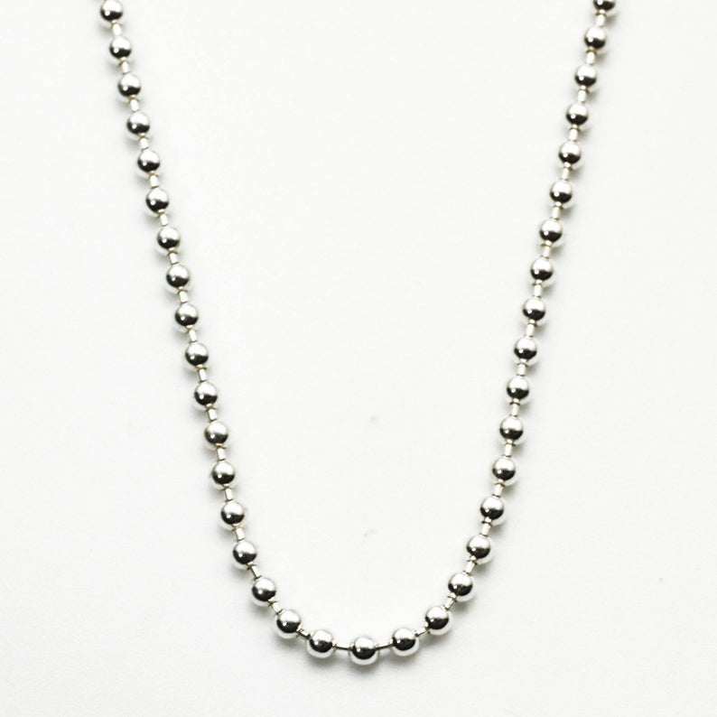 Sterling Silver Bead Chain - 2mm - By the Foot or Finished in Custom Lengths and Finishes - Bright, Antique or Black - Made in the USA