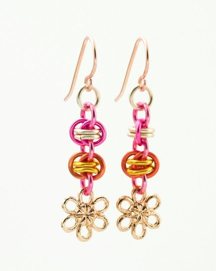 15 Rose Gold Plated Flower Charms - 10mm Forget Me Nots - Buy in Bulk and Save