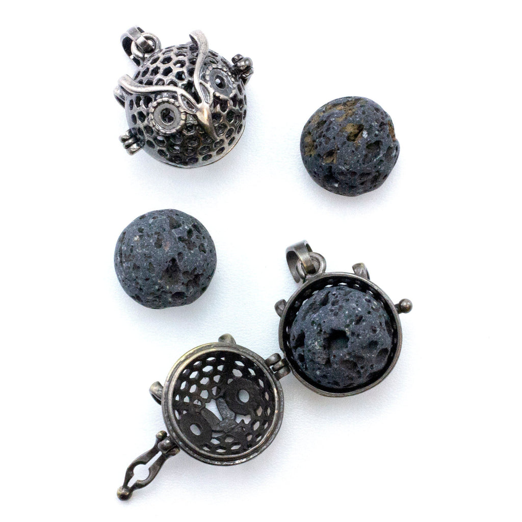Owl Aromatherapy Locket in Antique Brass and Antique Silver with Free Lava Rock