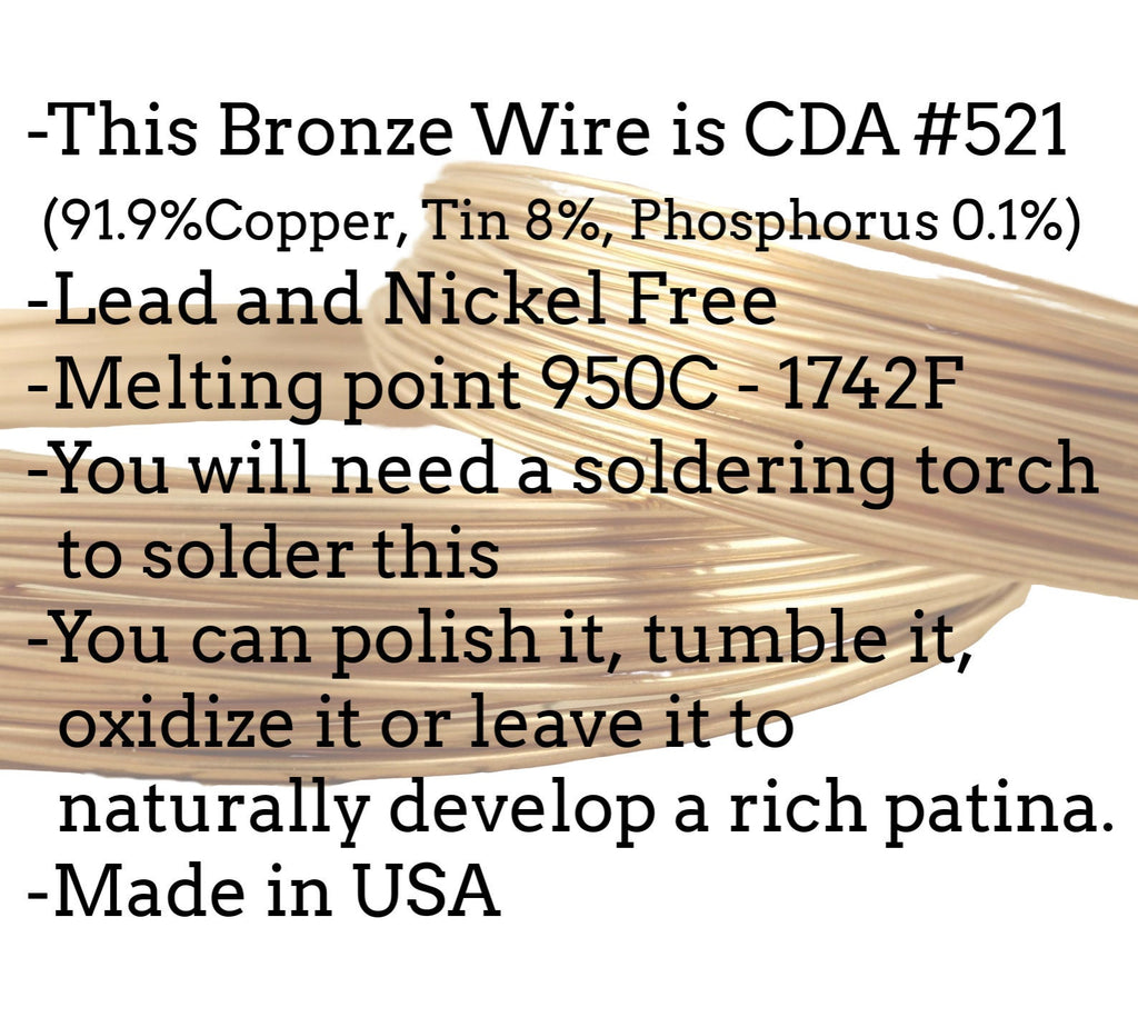 SQUARE Solid Bronze Wire -  YOU PICK 12, 14, 16, 18, 20, 21, 22 gauge - 100% Guarantee