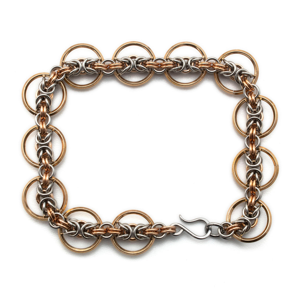 Beautiful Byzantine Circles Chainmaille Bracelet - One of a Kind - Stainless Steel and Bronze - 7.5 Inches Long