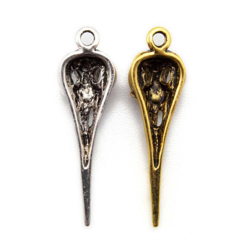 Pewter Bird Skull Pendant - Antique Gold or Antique Silver Finish - Single, Bulk, or Pendant Kits