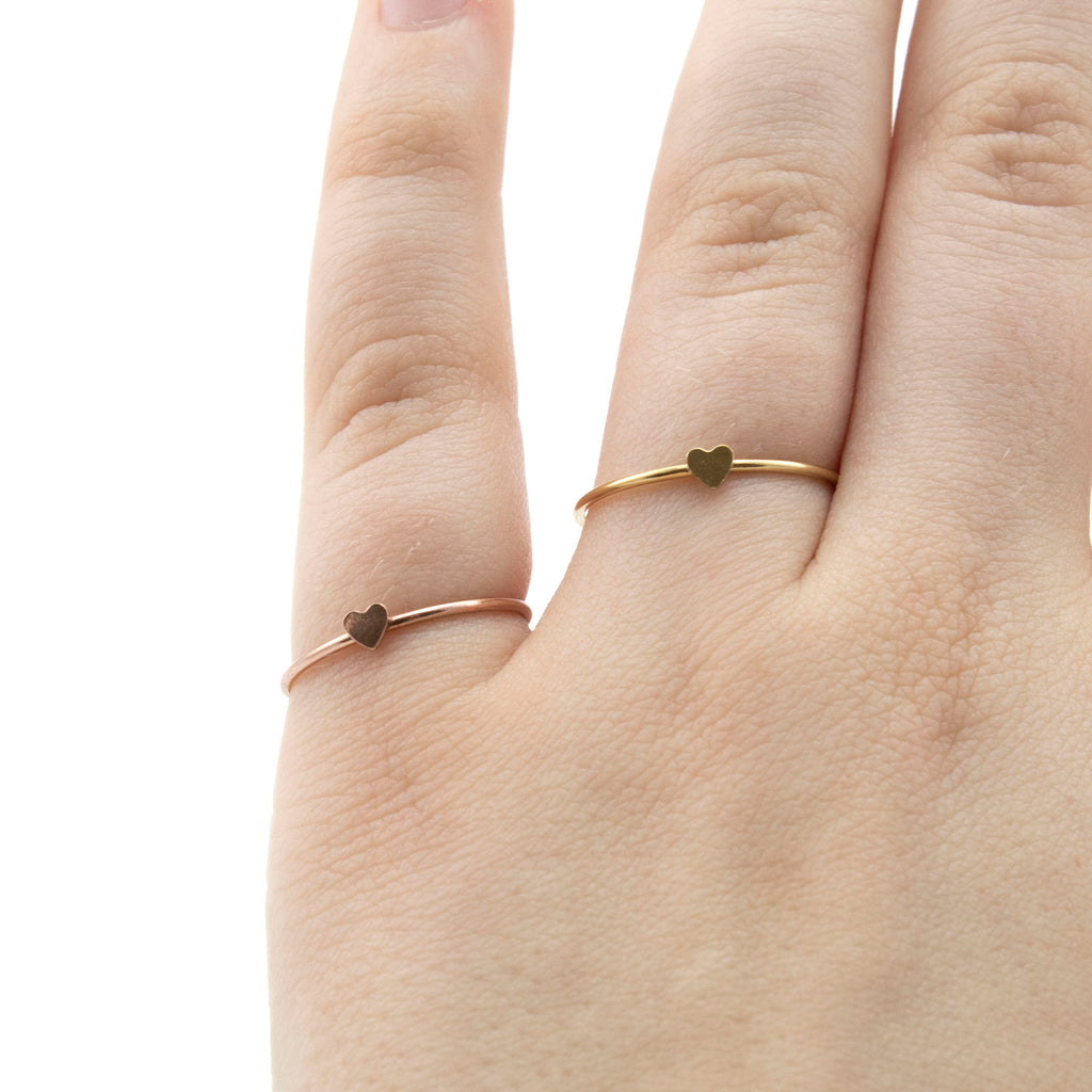 CLEARANCE SALE Simple Hearted Rings - Yellow Gold and Rose Gold Filled - Size 8, 9