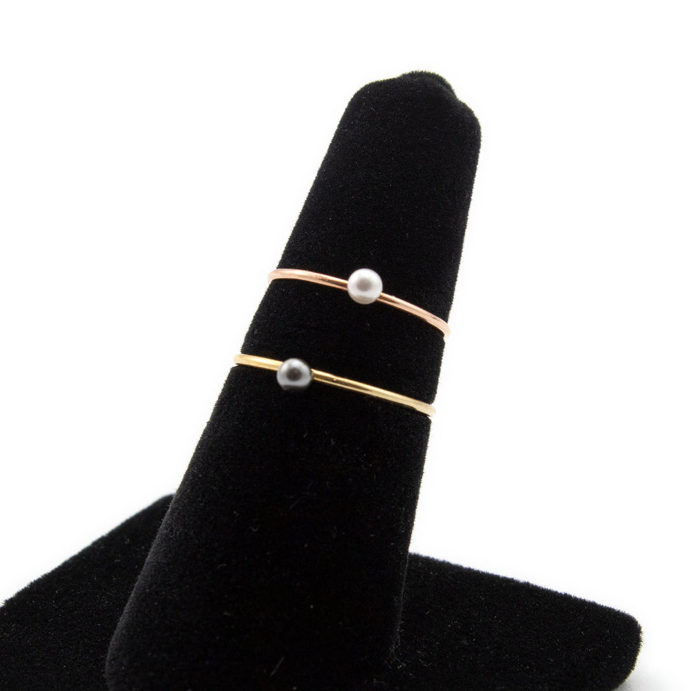 CLEARANCE SALE Simple Pearled Rings - Yellow Gold and Rose Gold Filled with Swarovski Pearls - Size 5, 6