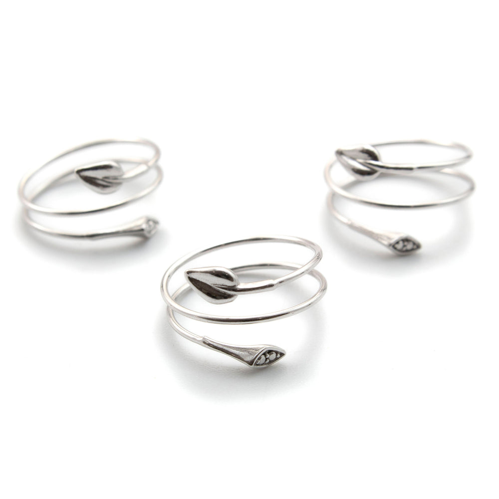 CLEARANCE SALE Flexible Leaf Rings - Sterling Silver - Size 8