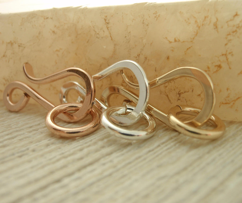 17mm x 9mm Yellow or Rose Gold 14kt Gold Filled or Argentium Sterling Silver Clasp with Catch Ring - Hand Forged