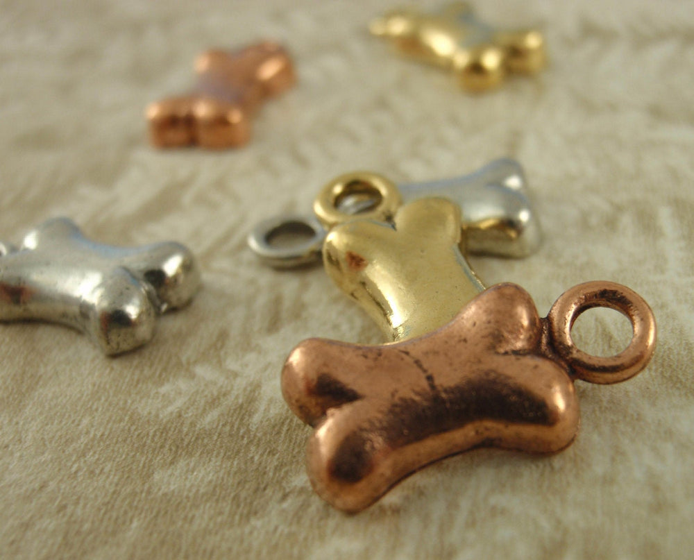 3 Dog Bone Charms Charms - Made in the USA - You Choose Antique Plated Pewter Finish - 100% Guarantee