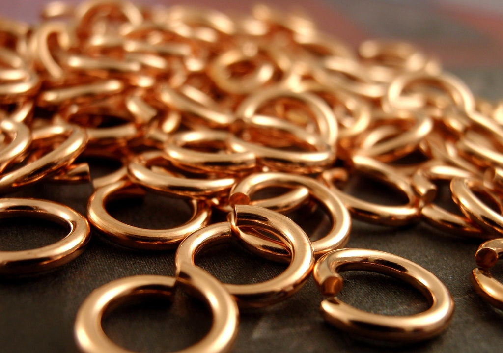 100 Solid Copper Jump Rings - Custom Handmade in Your Choice of Gauge 10, 12, 14, 16, 18, 20, 22, 24 and  Diameter - 100% Guarantee