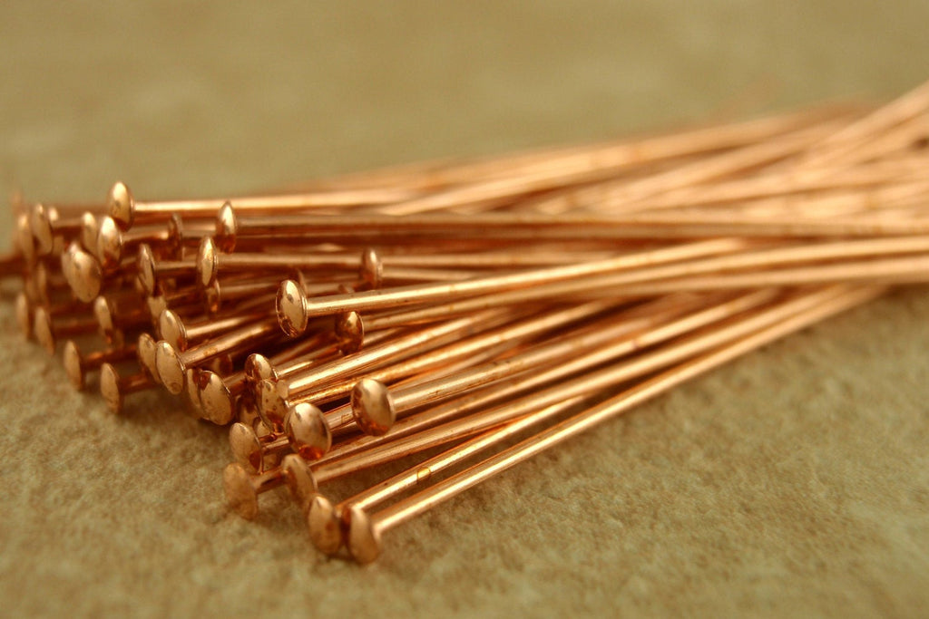 100 Solid Copper Stunning Flat Head Pins - 21 or 22 gauge - Made in the USA - Best Commercially Made - 100% Guarantee!