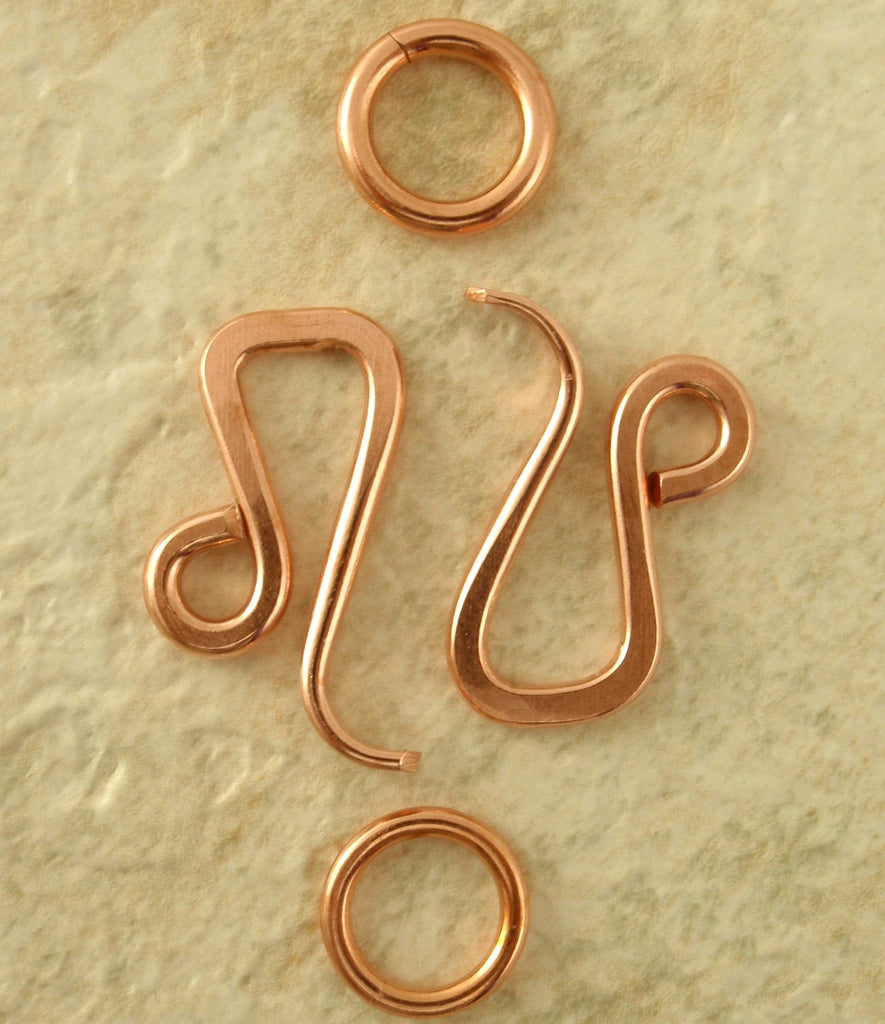 1 Hand Forged Angled Hook Clasp - 19mm X 13mm with Jump Ring - Your Choice of Metals, Sterling Silver, Copper, 14kt Gold Fill, Brass, Bronze