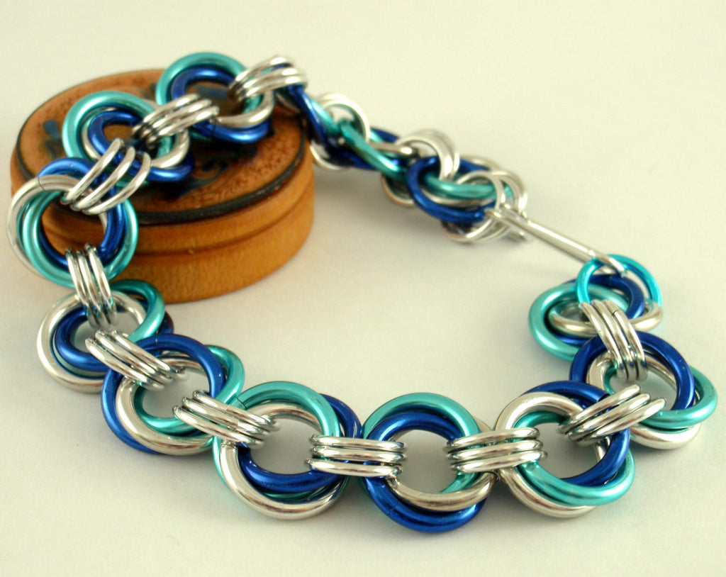 Chainmaille Bracelet Kit - EPIC Linked Loops in Rainbow, Ocean or Autumn Mix Aluminum