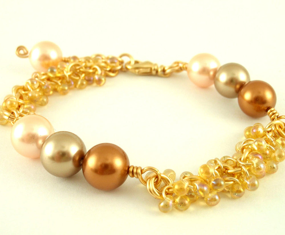 Pearls and Shaggy Beaded Bracelet Kit- Rainbow Light Amber and Gold