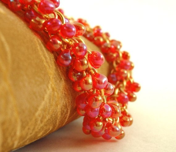 Transparent Red AB Fringe Glass Beads - Perfect for Shaggy Beaded Earrings, Bracelets, Rings 3mm X 4mm
