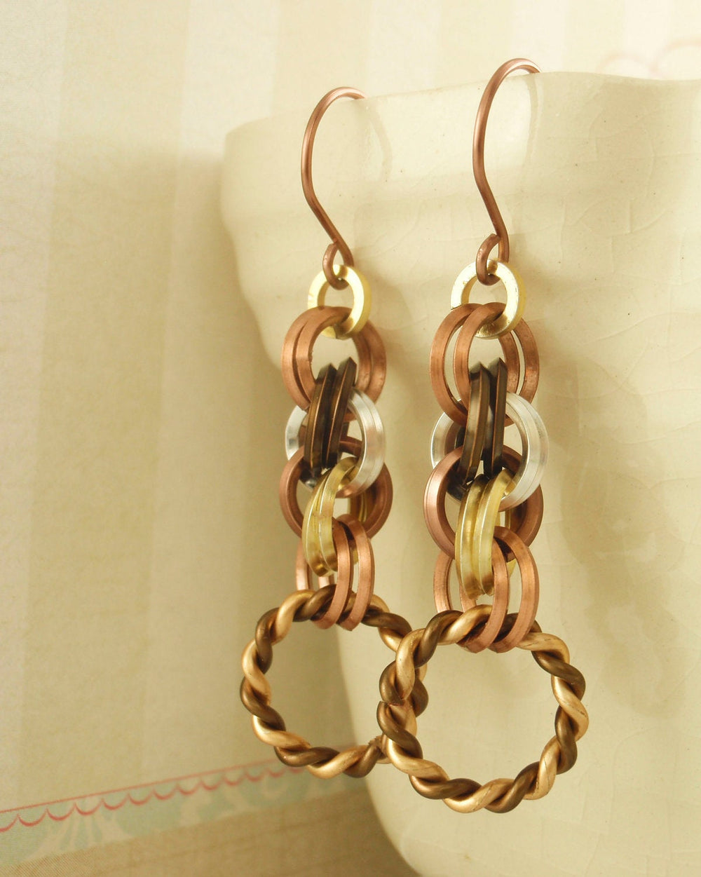 Earring Kit - Square Mixed Metals Double Spiral Chainmaille - Unique Non Tarnish On Edge Rings