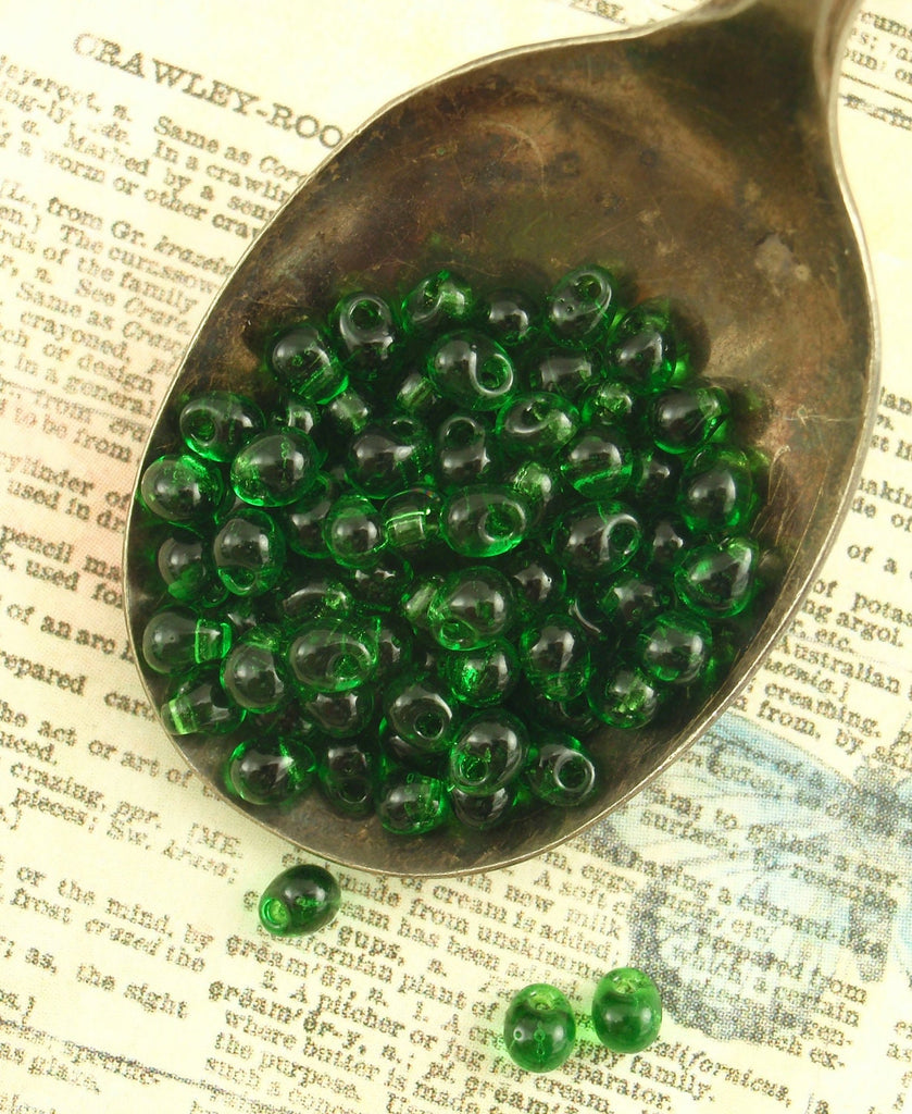Transparent Green Glass Fringe Beads - Great Price!