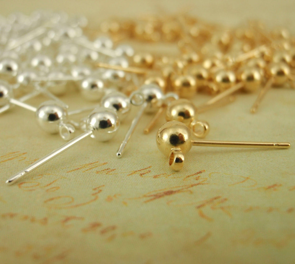 4 Pairs 4mm Ball Ear Posts with Loops - Ear Backs Included - Silver, Gold, Rose Gold Plated - 100% Guarantee