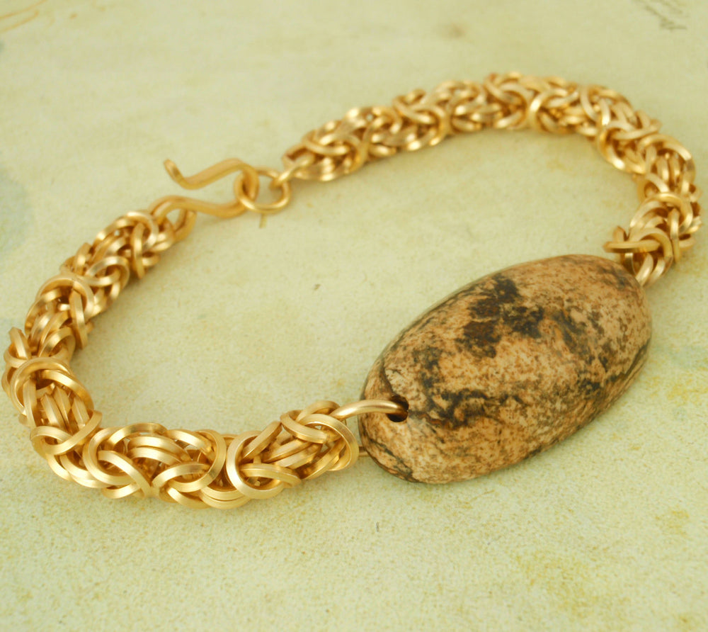 CLEARANCE SALE Square On EDGE Gold Colored Byzantine Chainmaille Bracelet Kit - Picture Jasper Focal