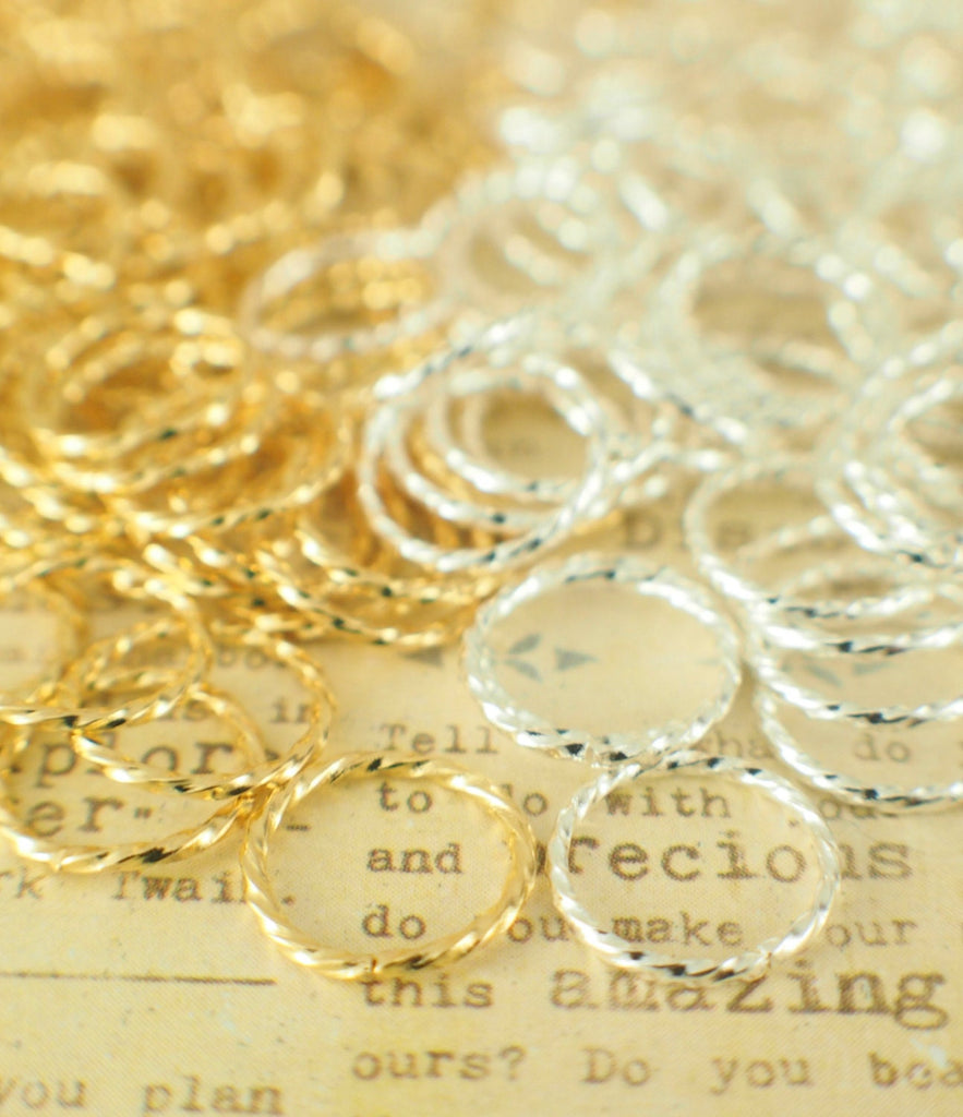 100 Fancy Gold Plated Jump Rings  - Best Commercially Made - 20, 18, 16 or 14 Gauge  - You Pick Diameter - 100% Guarantee