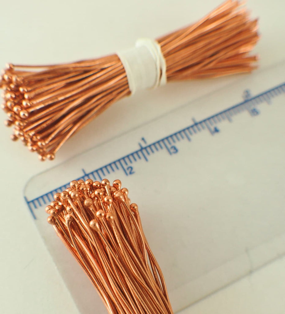 100 Solid Copper Ball Head Pins - 1.5mm Ball - 22 gauge 2 inch or 24 gauge 3 inch - Raw or Custom Oxidized - 100% Guarantee